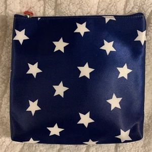 NWOT Satin Navy Blue with Stars Zippered Pouch